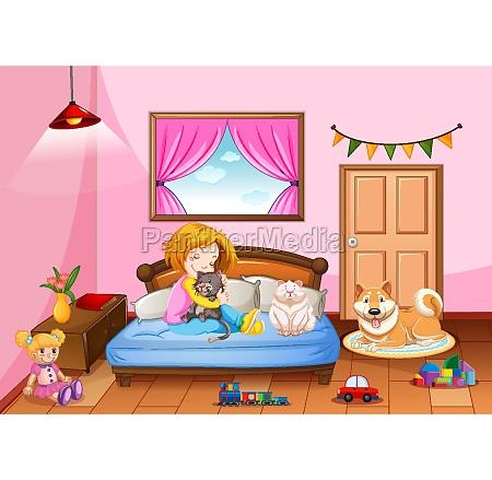 bedroom of girl in pink color