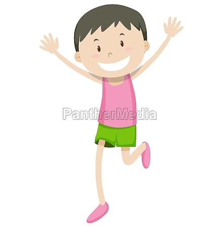 happy man running alone