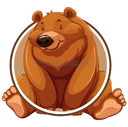 a grizzly bear circle sticker