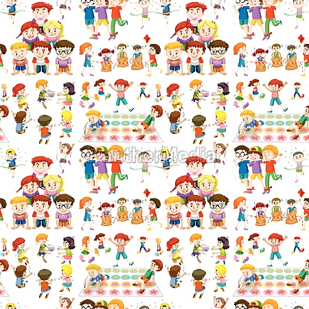 seamless background with children playing games