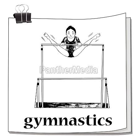 card with woman doing gymnastics