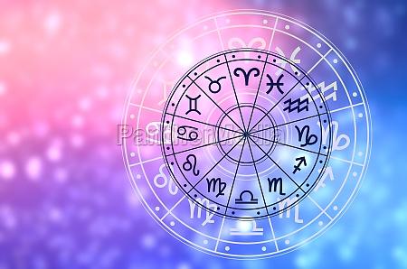 zodiac signs inside of horoscope circle