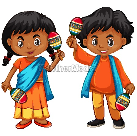 india kid holding maracas on white