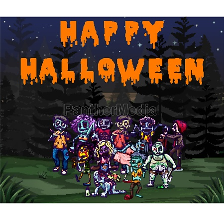 halloween theme with zombies in the