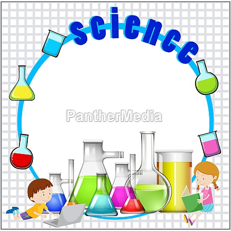 border design with science equipment