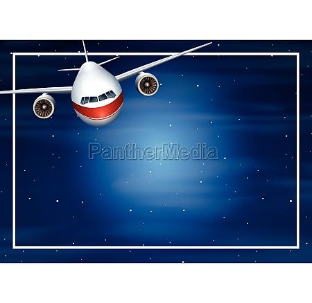 airplane night border frame