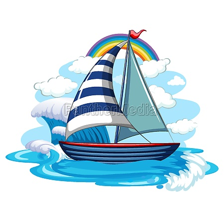 a sailboat on water waves isolated