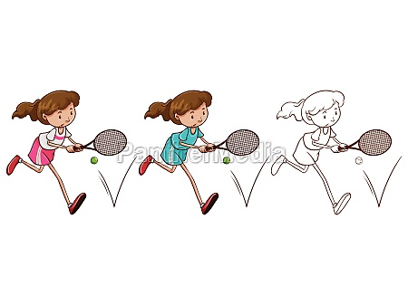 doodle character for female tennis player