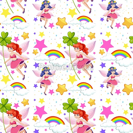 seamless fairy tales with rainbow and