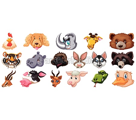 set of different cute cartoon animals