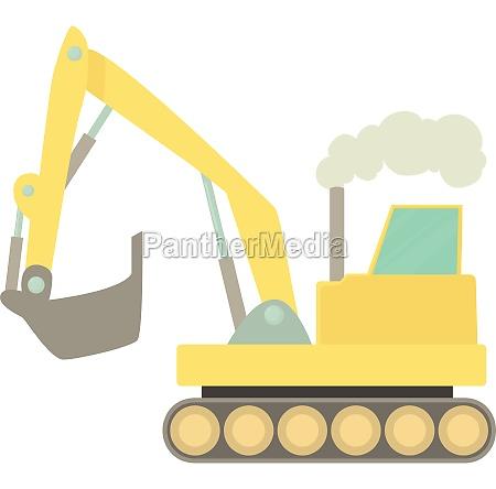 excavator icon cartoon style