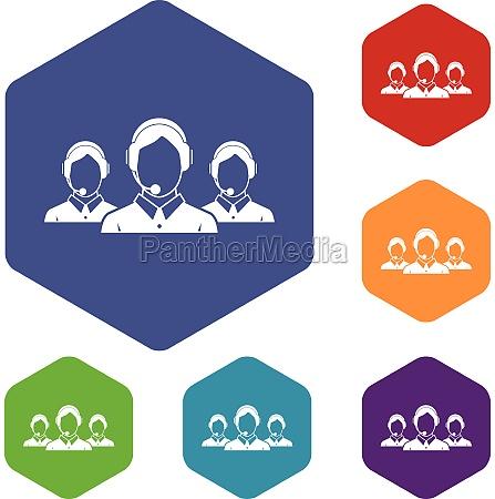 customer support operators icons set