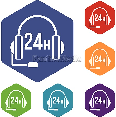 support 24 hours icons set