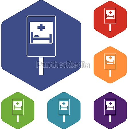 symbol of hospital road sign icons