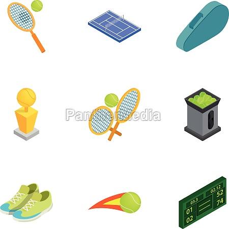 tennis icons set isometric 3d style