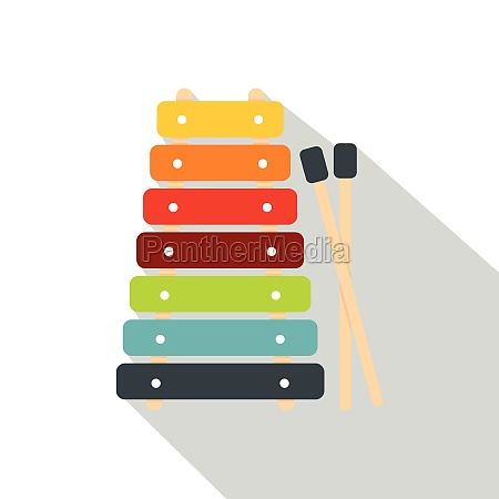 colorful xylophone toy and sticks icon