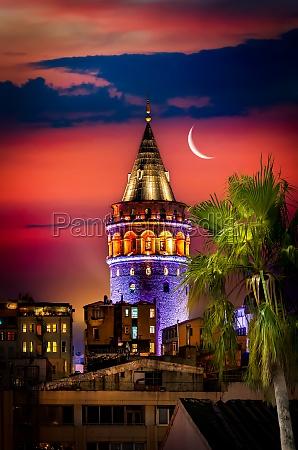 galata tower and moon