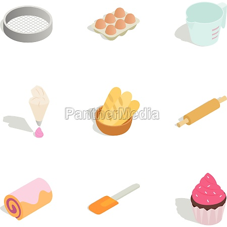 cooking sweet desserts icons set