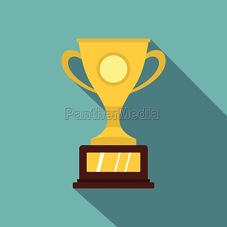 gold winner cup icon flat style