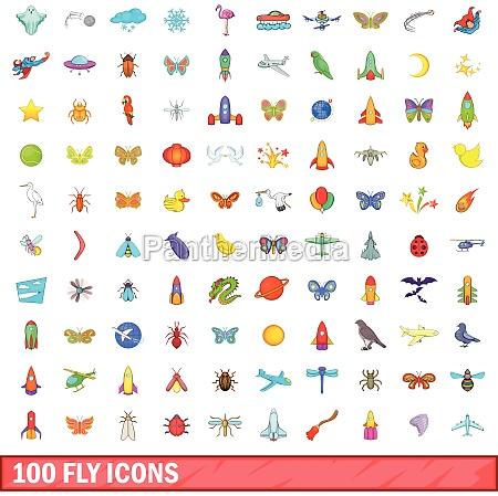 100 fly icons set cartoon style