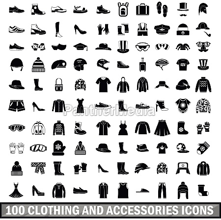 100 clothing and accessories icons set