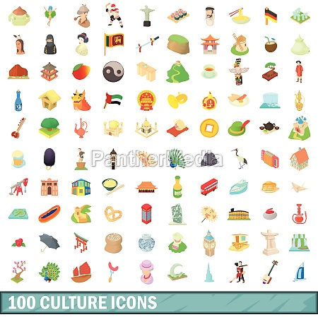 100 culture icons set cartoon style