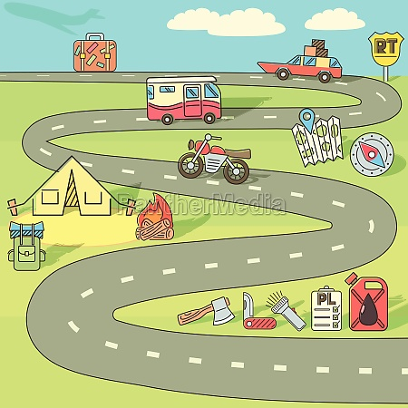 trip adventure concept cartoon style