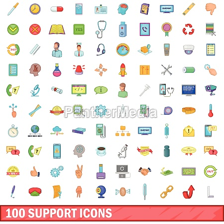 100 support icons set cartoon style