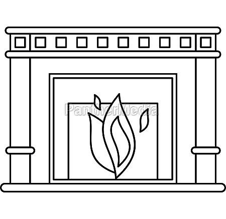 fireplace icon outline style