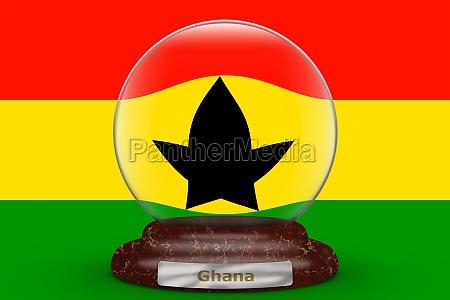 flag of ghana on snow globe
