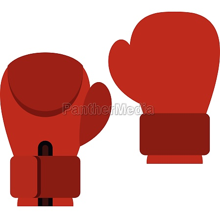 red boxing gloves icon flat style