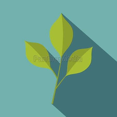 green cherry leaves icon flat style