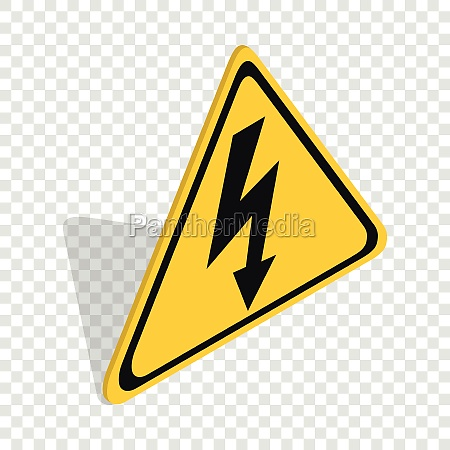 high voltage sign isometric icon