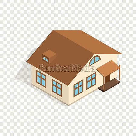 one storey house with porch isometric