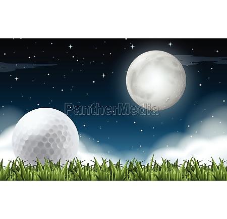 a golf field night time