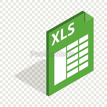file format xls isometric icon