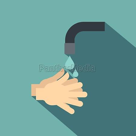 washing hands under running water icon