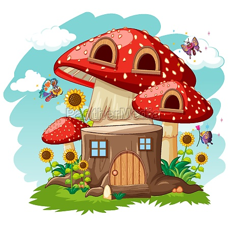 stump mushroom house and in the