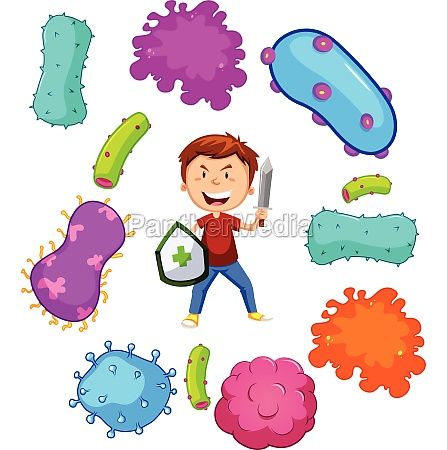 boy with weapon fighting germs