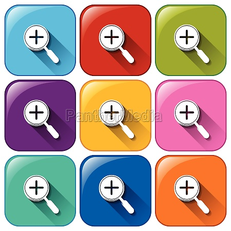 icons with magnifying glass