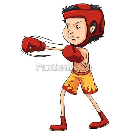 a coloured sketch of a boxer
