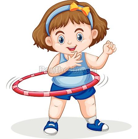 a girl playing hoola hoop