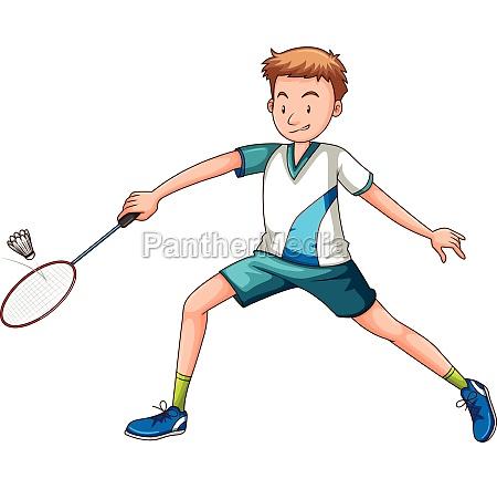 man playing badminton with racket