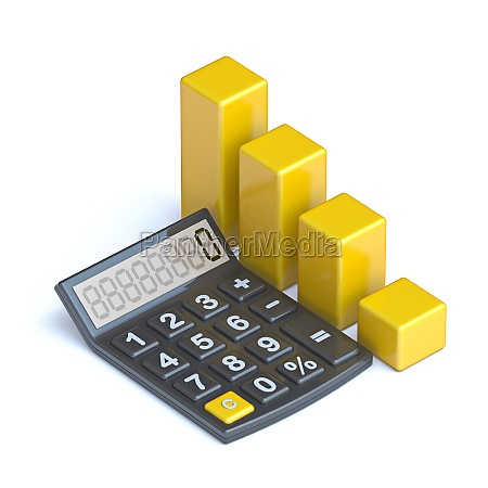 calculator and yellow chart 3d