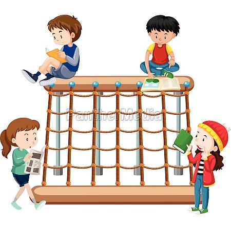 children reading a playground
