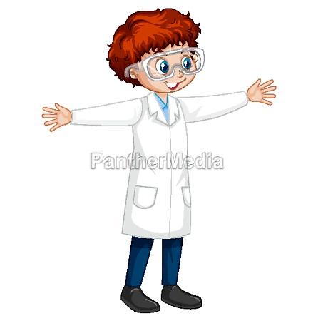 a boy wearing laboratory coat cartoon