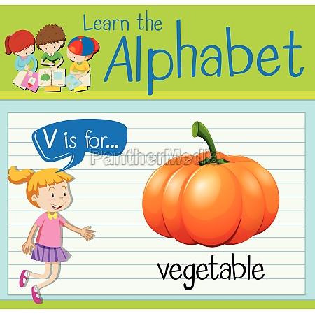 flashcard letter v is for vegetable
