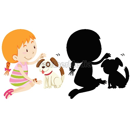 girl playing with cute dog with