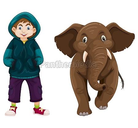 little boy and baby elephant