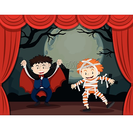 two boys in halloween costume on